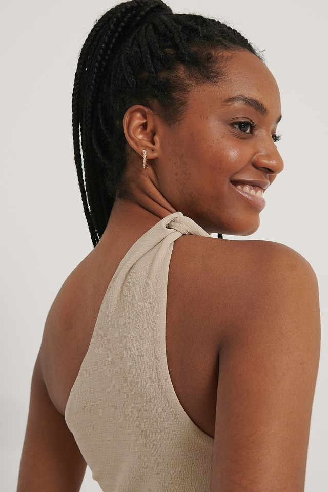 Twisted One Shoulder Top Light Beige
