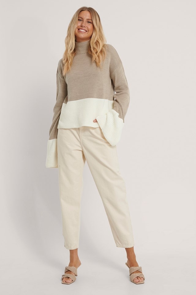 Two Colored Knitted Sweater Beige/White