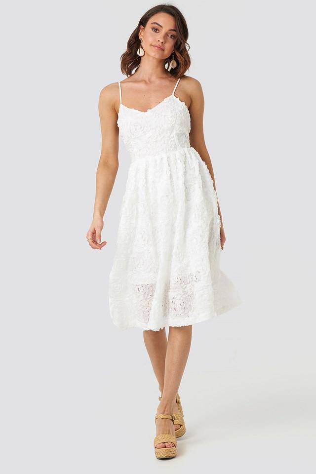 V-Neck Flower Applique Dress White