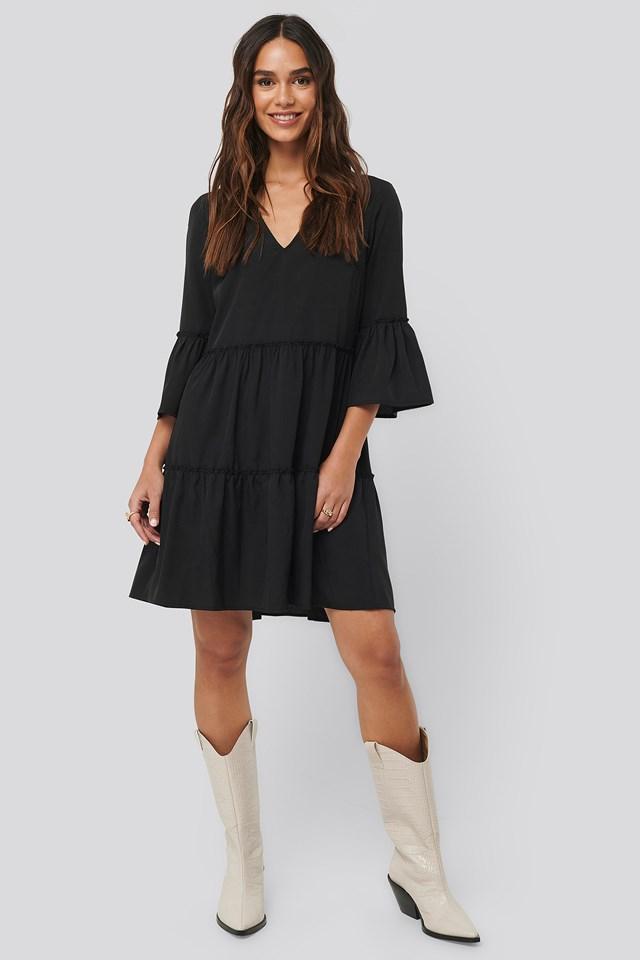 V neck Ruffle Dress Black