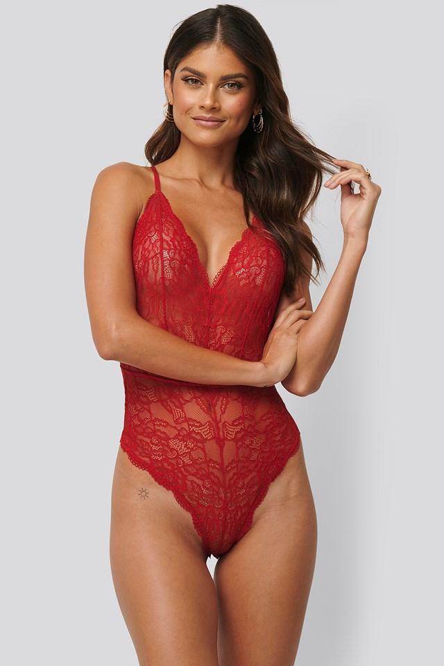 V-neck Lace Bodysuit Red