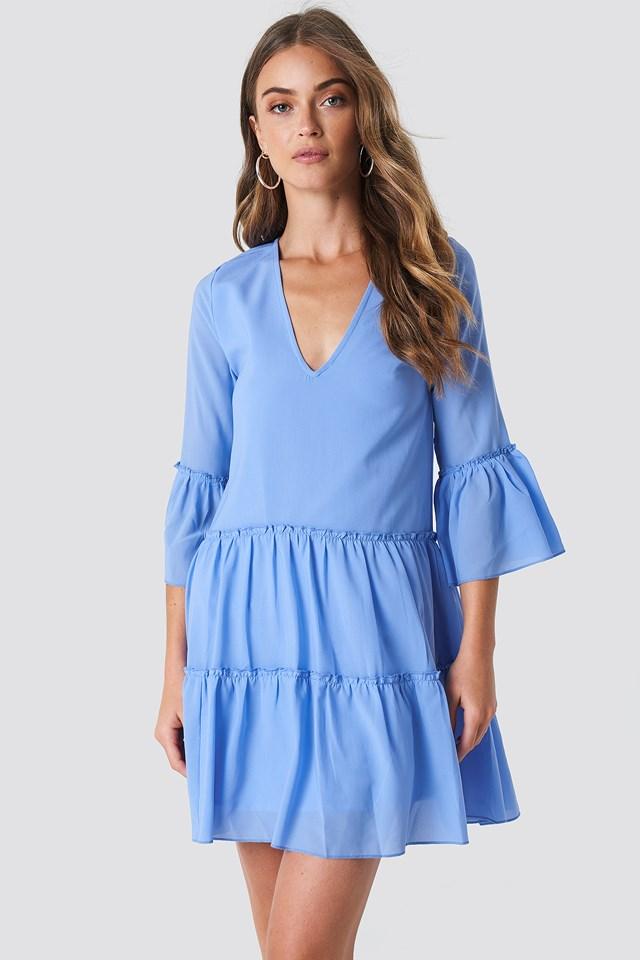 V-Neck Ruffle Mini Dress NA-KD Boho