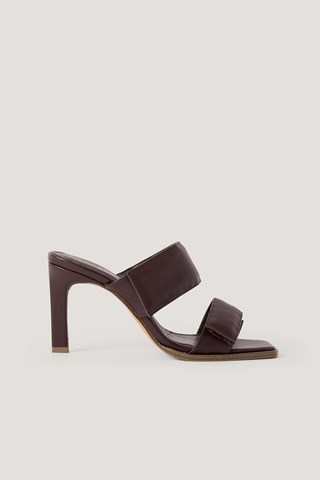 Brown Velcro Strap Square Toe Mules
