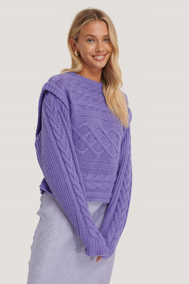 Vest Cable Knitted Sweater Lilac