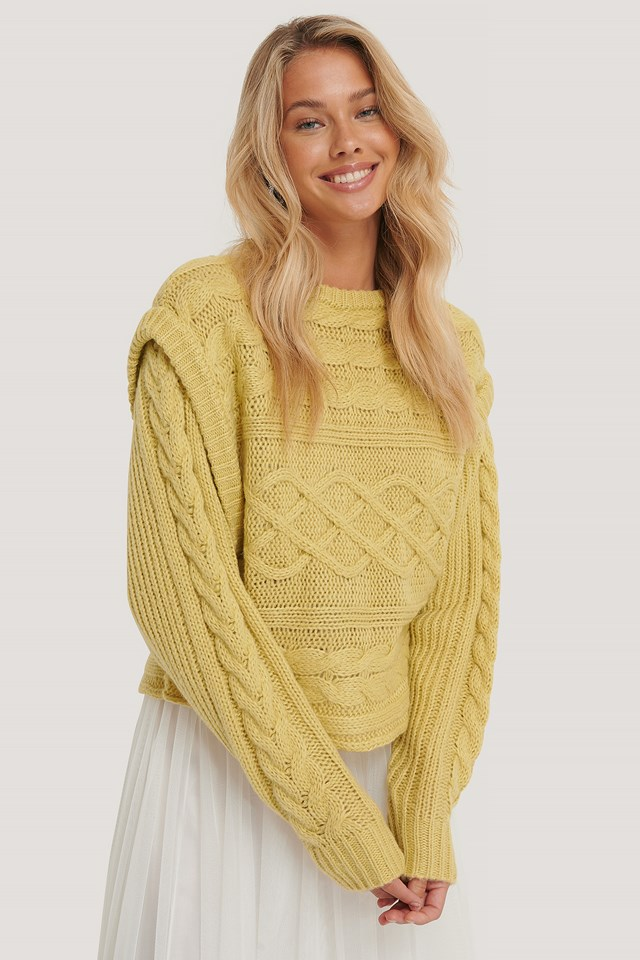 Vest Cable Knitted Sweater Dusty Light Yellow