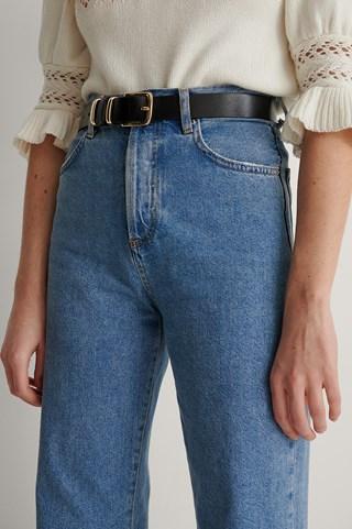 Black Vintage Look Leather Belt