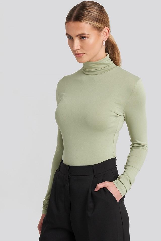 Viscose Long Sleeve Polo Top NA-KD Basic
