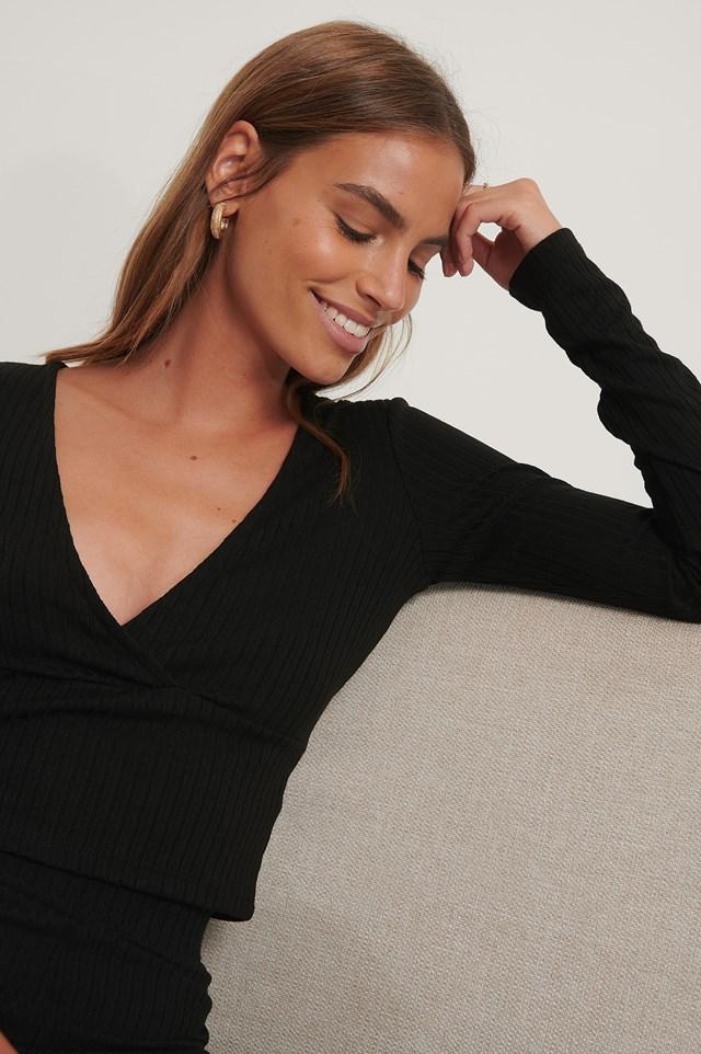 V-Neck Long Sleeved Top Black