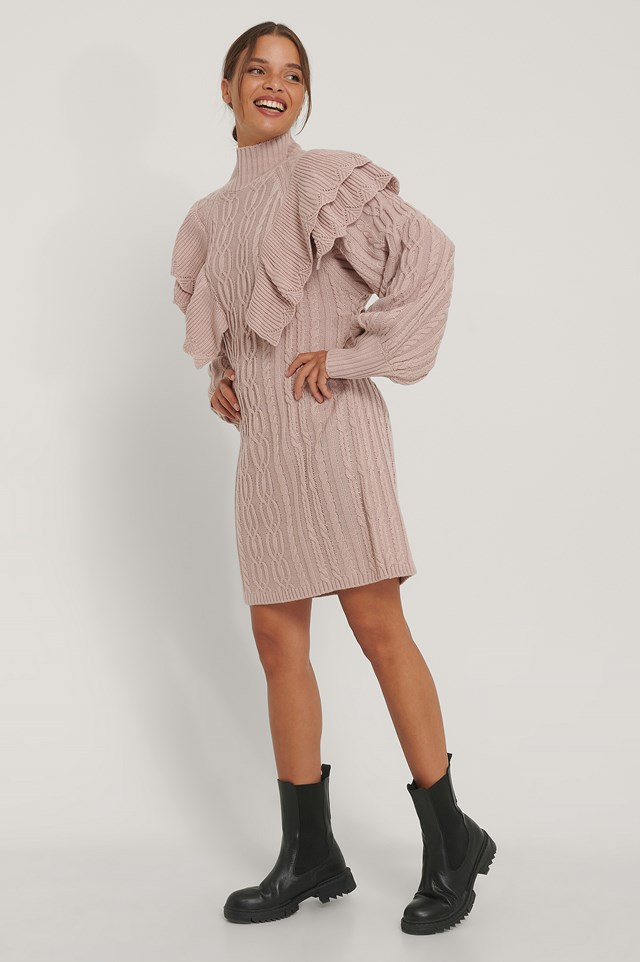 Volume Flounce Knitted Dress Dusty Pink