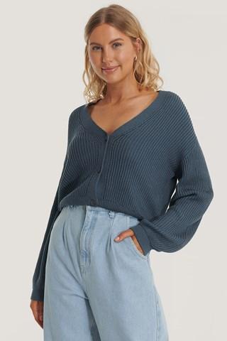 Blue Organic Volume Sleeve Buttoned Cardigan