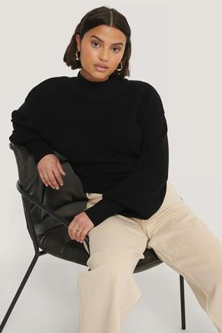 Black Organic Volume Sleeve High Neck Knitted Sweater