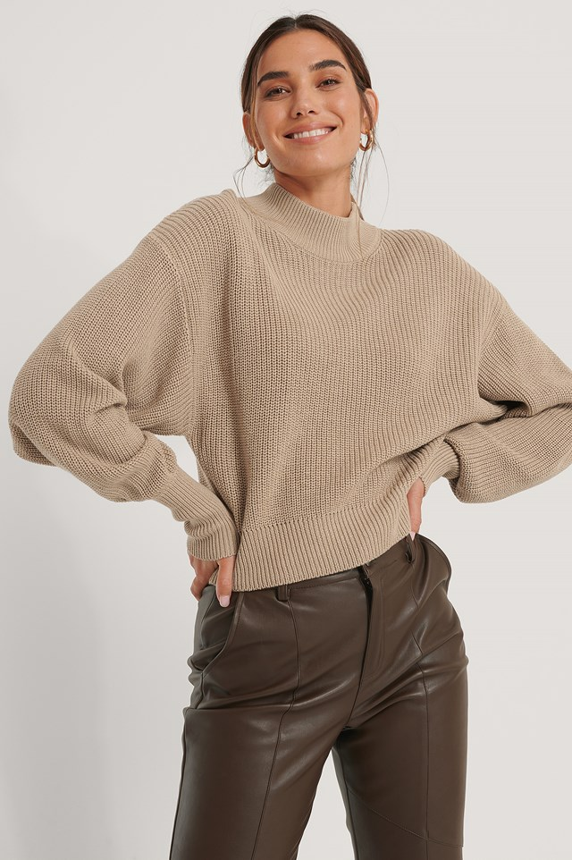 Organic Volume Sleeve High Neck Knitted Sweater Beige