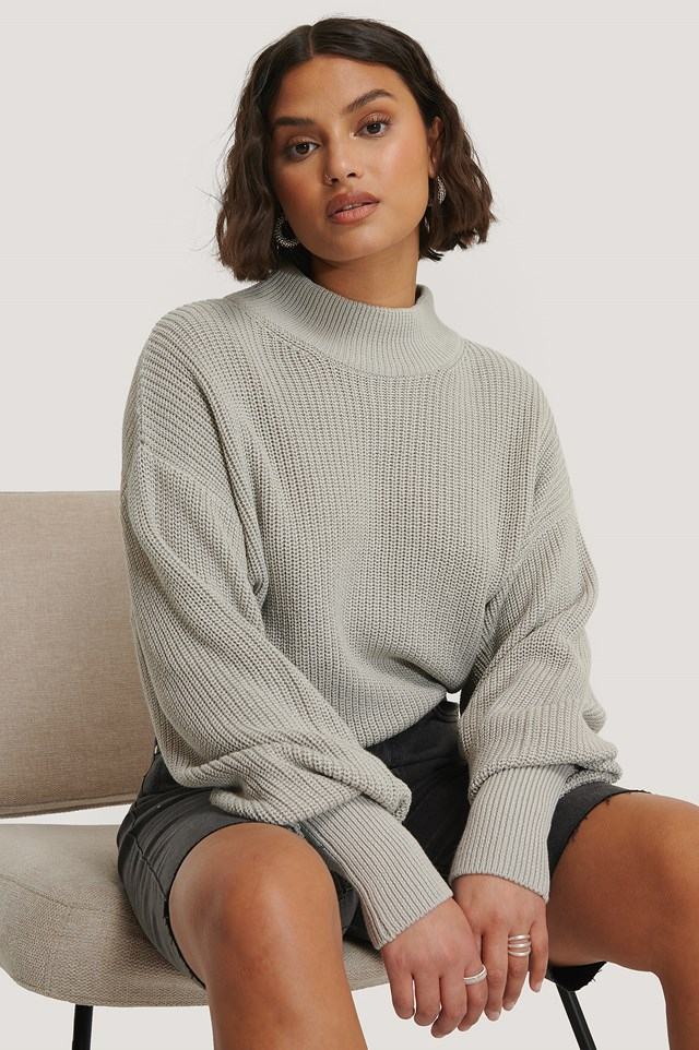 Organic Volume Sleeve High Neck Knitted Sweater Grey