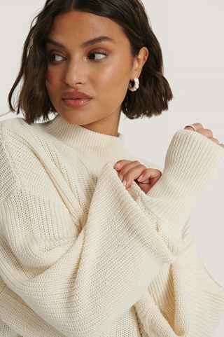 Offwhite Organic Volume Sleeve High Neck Knitted Sweater