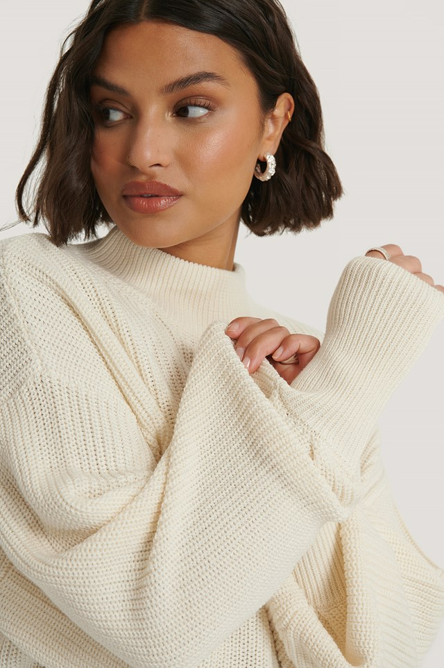 Organic Volume Sleeve High Neck Knitted Sweater Offwhite