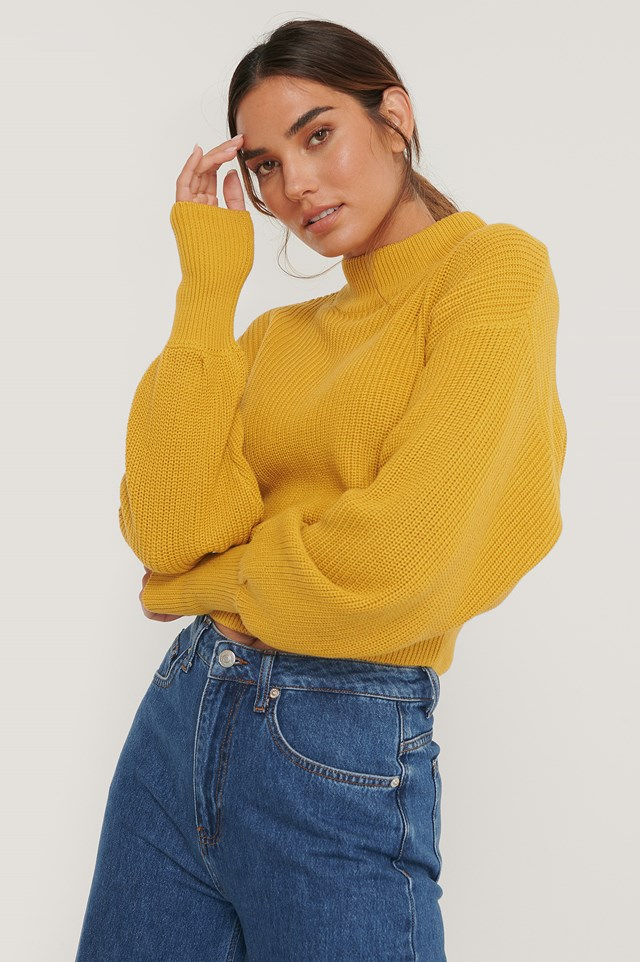 Organic Volume Sleeve High Neck Knitted Sweater Mustard