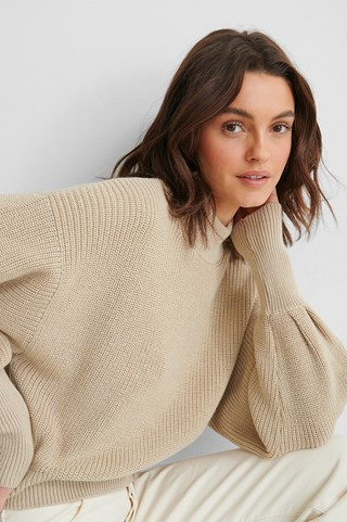 Beige Volume Sleeve High Neck Knitted Sweater