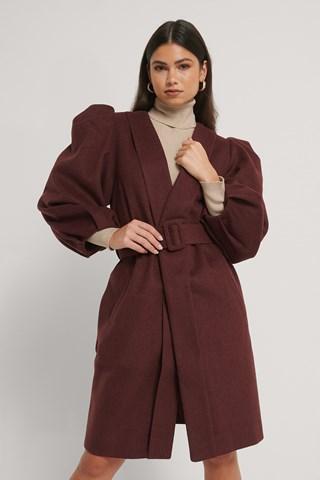 Cinnamon Volume Sleeve Wool Coat