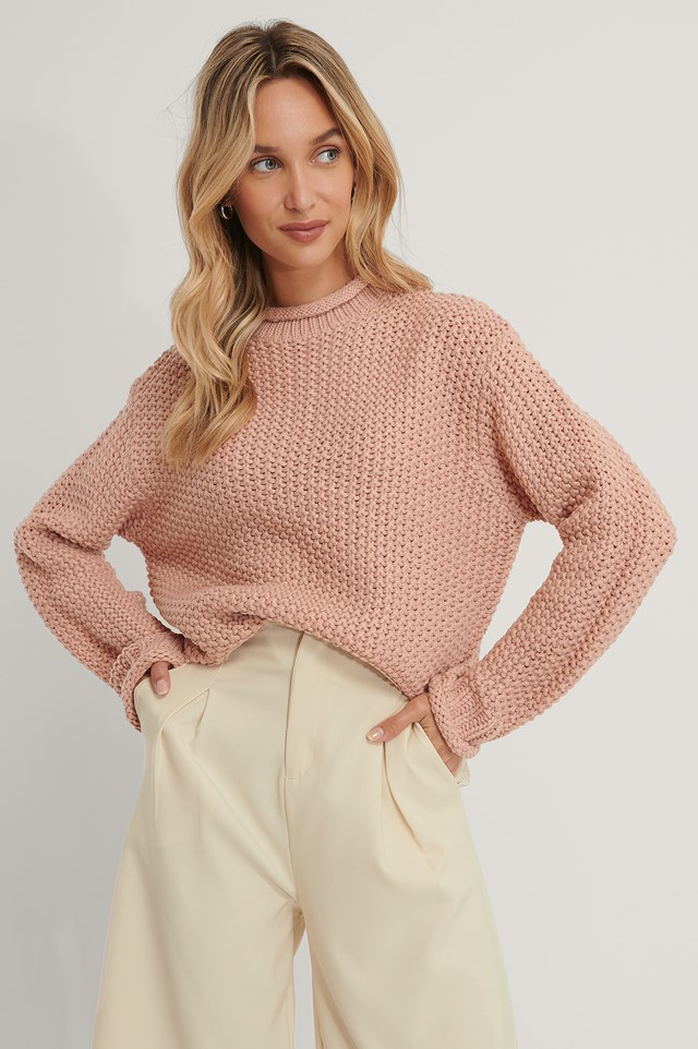 Waffle Knit High Neck Sweater Dusty Pink