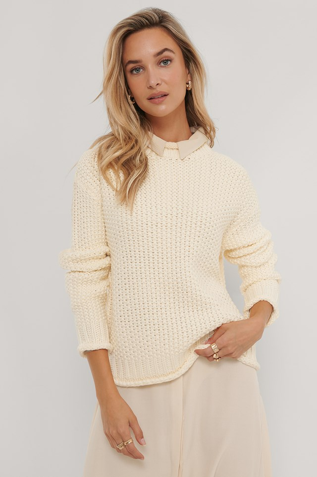 Waffle Knit High Neck Sweater Off White