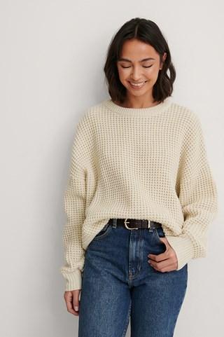 Light Beige Waffle Knit Round Neck Sweater