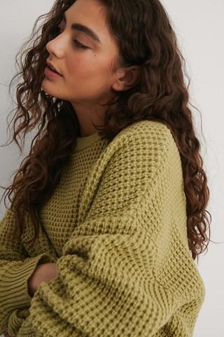 Light Green Waffle Knit Round Neck Sweater