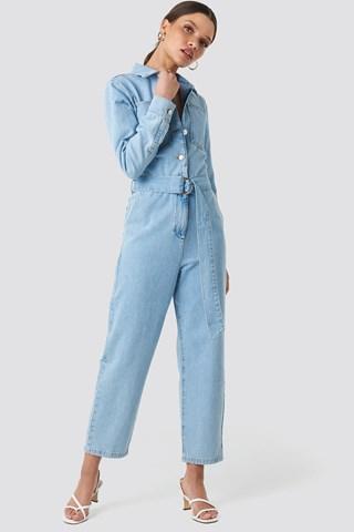 Light Blue Wash Waist Belt Denim Jumpsuit