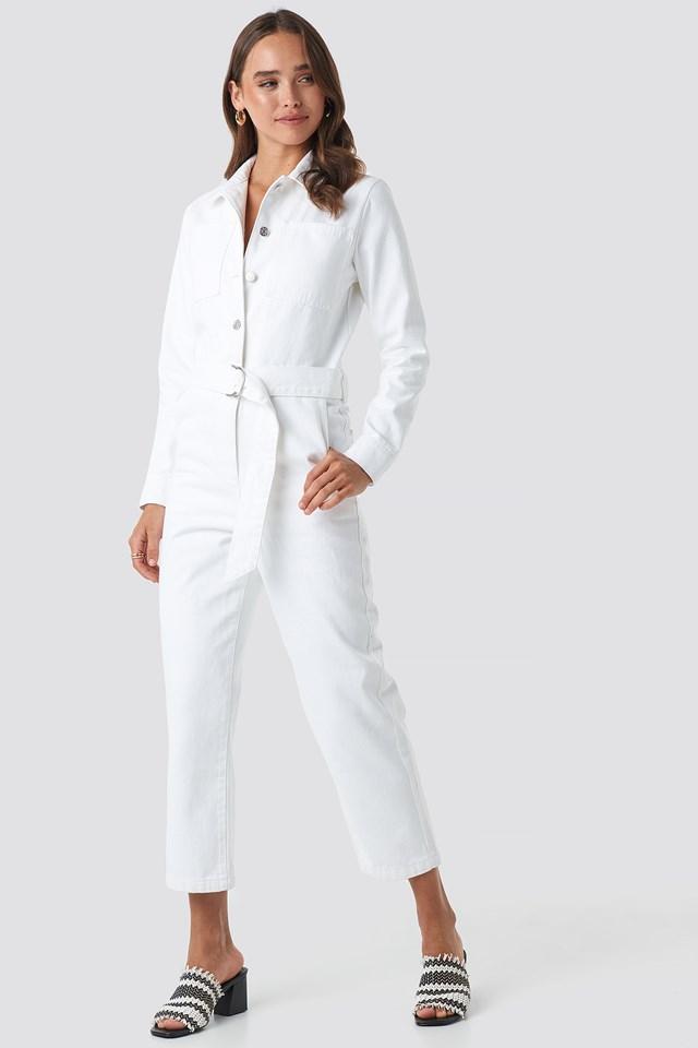Waist Belt Denim Jumpsuit White