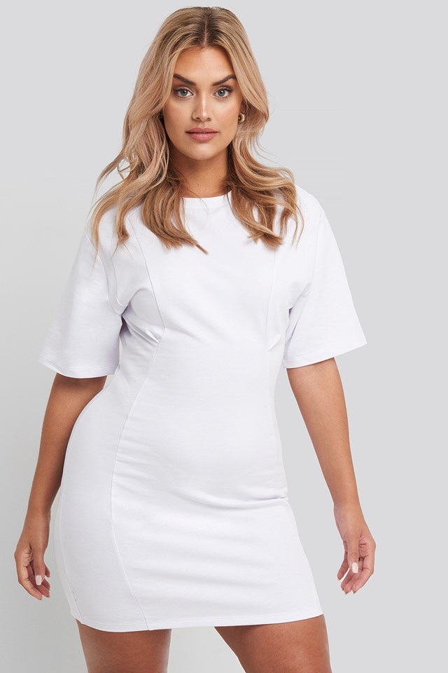 Waist Dart Detail Dress White