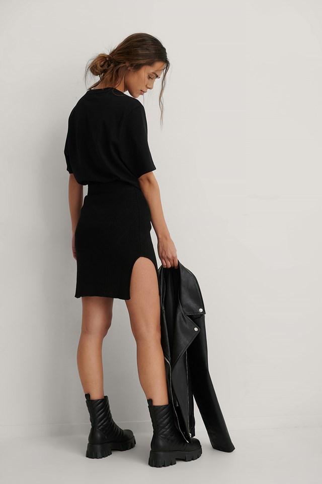 Waist Dart Detail Knitted Mini Skirt Black
