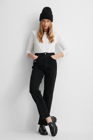 Black Waist Detail Straight Jeans