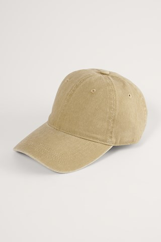 Beige Washed Denim Look Cap
