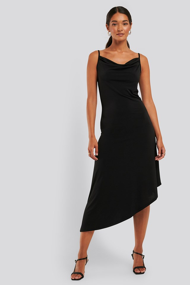 Waterfall Asymmetric Dress Black