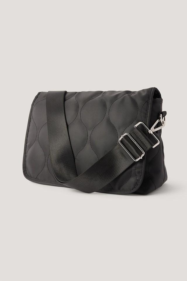 Wavy Pattern Crossbody Bag Black