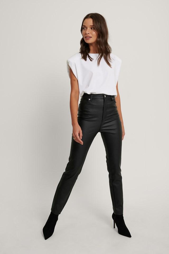 Waxed High Waist Trousers Black