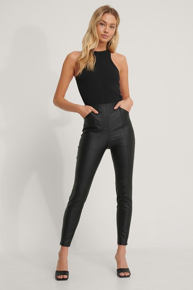 Waxed Slim Leggings Black