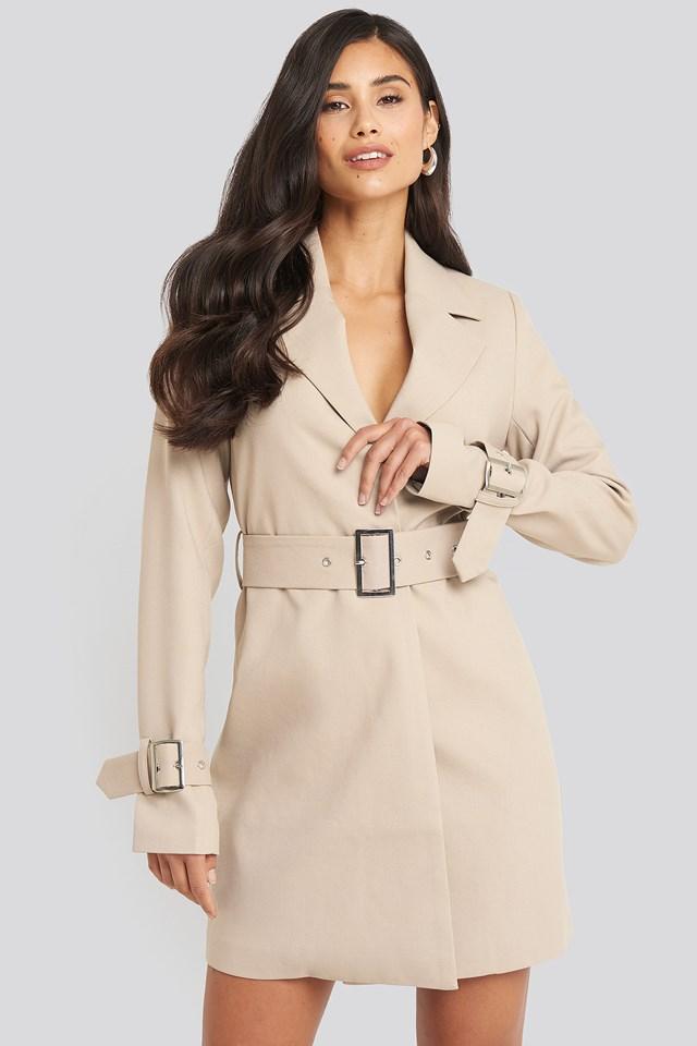 Wide Belted Blazer Dress Beige