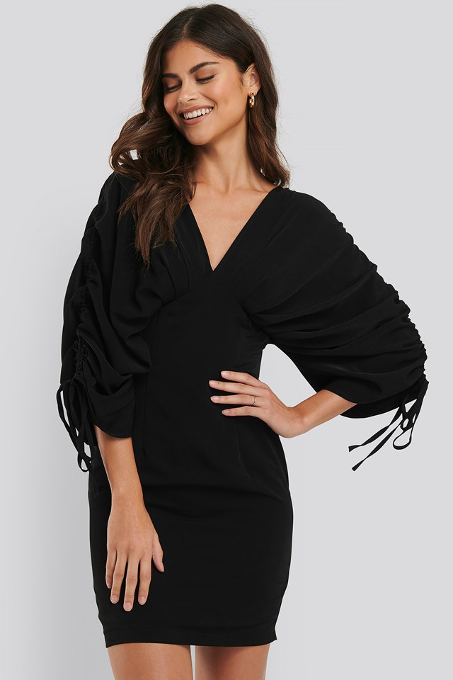 Wide Butterfly Sleeve Dress Black