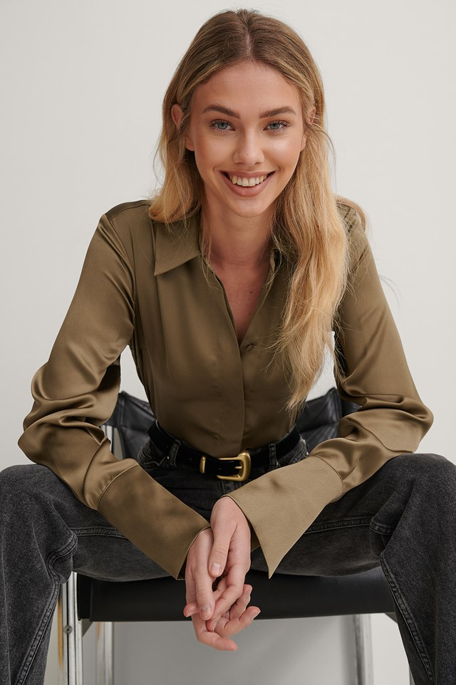 Taupe Wide Cuff Satin Blouse