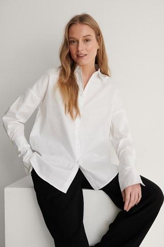 White Wide Cuff Shirt