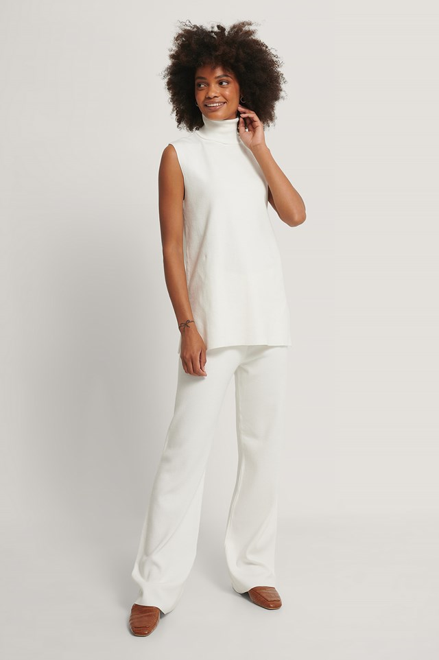 Wide Knitted Pants White