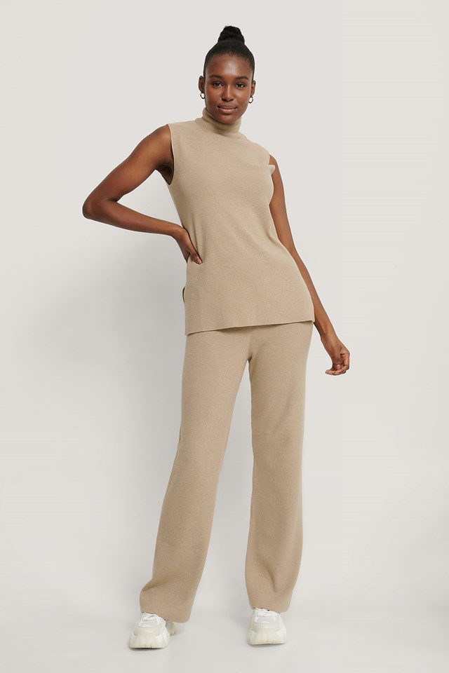 Wide Knitted Pants Beige