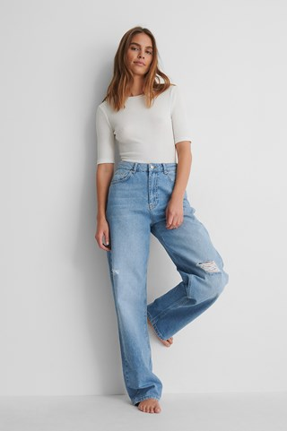 Mid Blue Organic Wide Leg Destroyed Detail High Waist Jeans