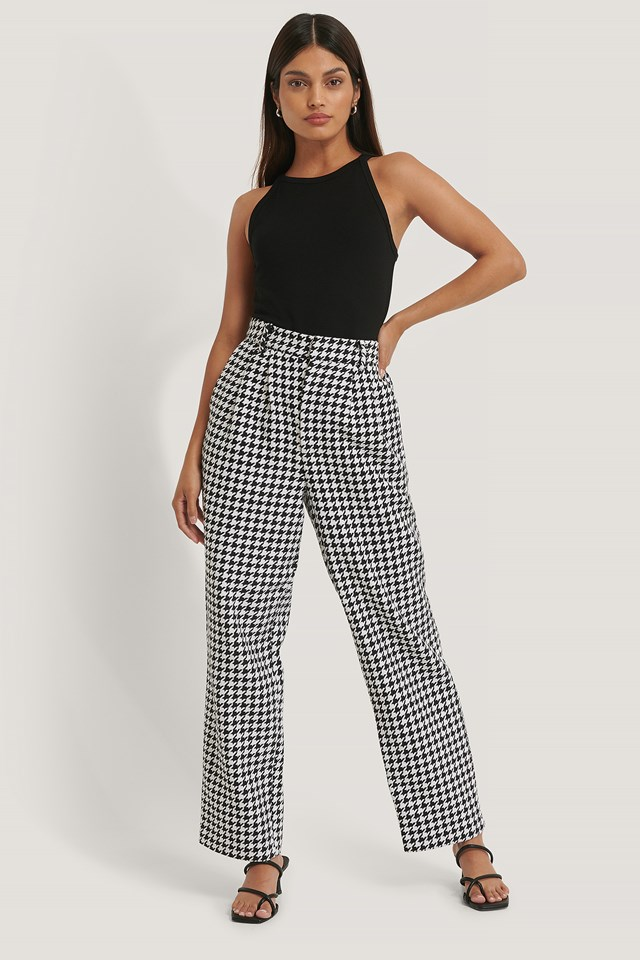 Wide Leg Houndstooth Pants Black/White