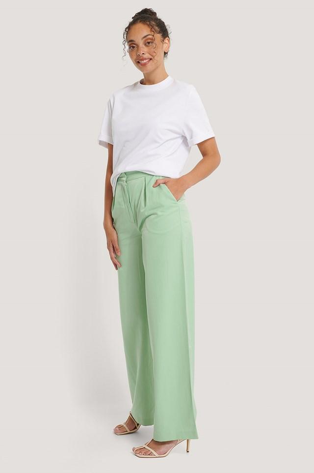 Wide Leg Pants Pastel Green