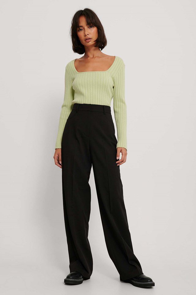 Wide Leg Suit Pants Black