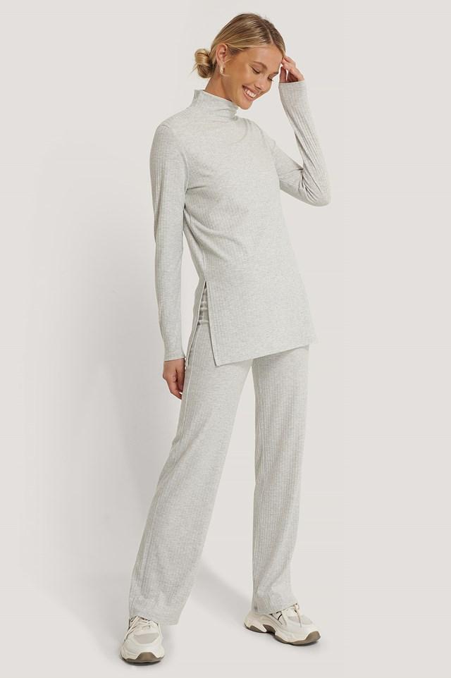 Wide Loose Rib Fit Pants Grey Melange