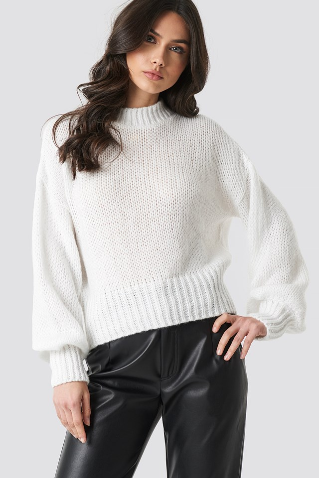 Wide Rib Short Knitted Sweater NA-KD Trend