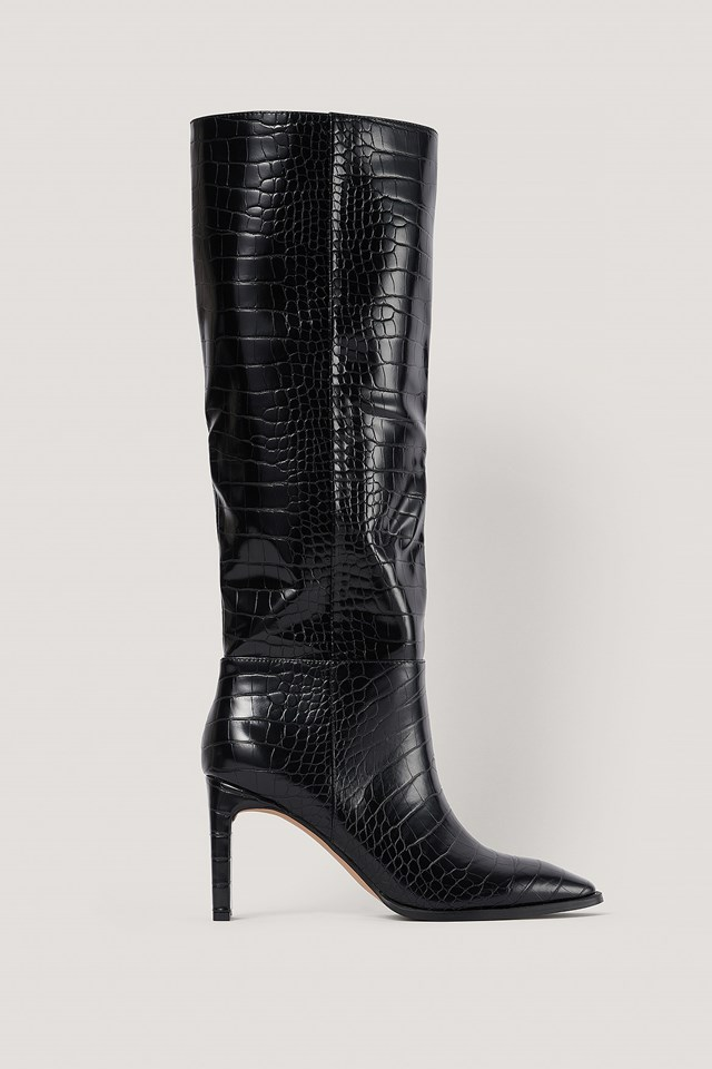 Wide Shaft Squared Toe Boots Black