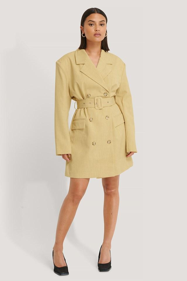 Wide Shoulder Belted Blazer Dress Dusty Light Yellow